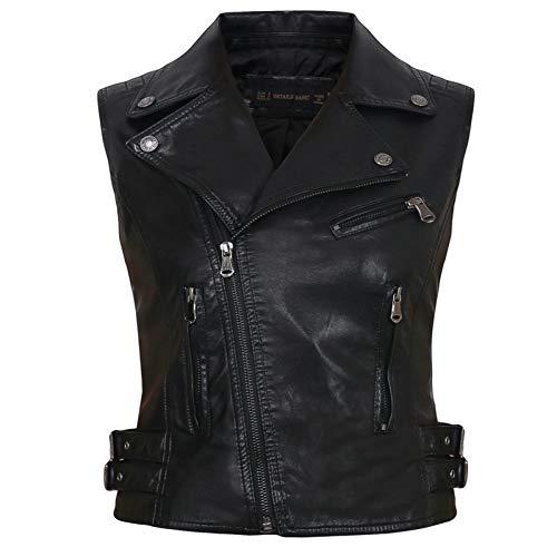 TIKEHAN Femmes Moto PU Faux Cuir vestes sans Manches Dames col rabattu Ceinture fermeture éclair Gilet poches Gilet Streetwear