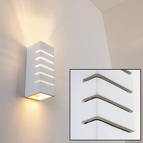 Wandlamp Khartoum van keramiek in wit, wandlamp met lichtsleuven, 1 x E14 stopcontact max. 60 Watt, binnenwerklamp met standaard kleuren te beschilderen, geschikt voor LED-verlichting