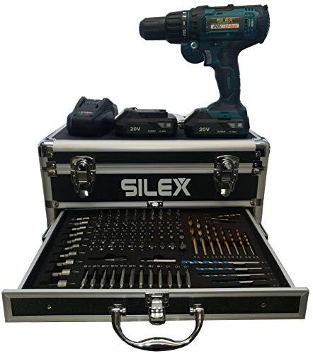 Set boormachine slagschroevendraaier 20 V met 2 Li-Ion-accu's 2 Ah + 110 accessoires van Silex