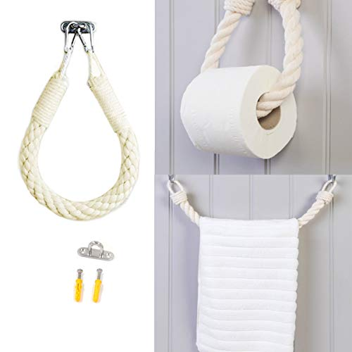 SERE Rope Toilet Paper Nautical Bathroom Decor with Anchor Wall Mount Metal Hook Antique Industrial Wall-Mounted Coastal Rope Secures Towel and Curtain 23.62in