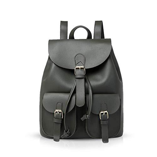 KaiKai Moderne Frau Rucksack beiläufige Rucksack for Damen Daypack Handtaschen Tagesrucksack for College-PU-Leder (Color : Dark Green)