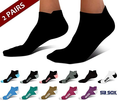 SB SOX Ultralite Compression Running Socks for Men & Women (2 Pairs) - Perfect Option to Our Compression Socks - Best No-Show Socks for Running, Athletic, Everyday Use (Solid - Black, X-Large)