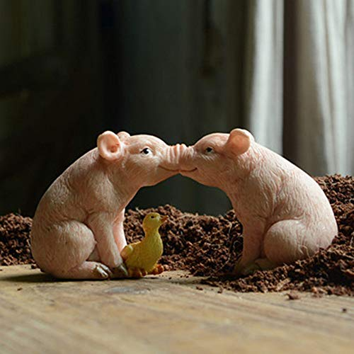 Mini Resin Pig Fairy Garden Plant Pots Bonsai Miniature Figurine Micro Landscape Small Baby Piglet Ornament Pig with Pot