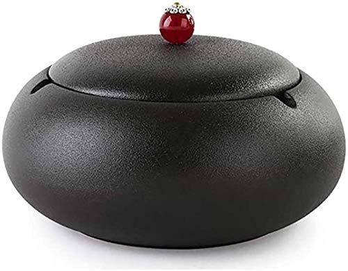 KEEBON Bandeja de Ceniza Cenicero de cerámica Negra con Tapa Exterior Interior, Altura 8 cm de diámetro: 11 cm