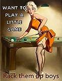 Placa de metal de aluminio de 11.8 x 7.9 pulgadas, Pin Up Girl Pool Want to Play A Little Game Rack ...