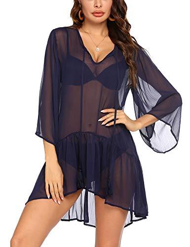 Ekouaer Women's Beachwear Bikini Coverups Chiffon V-Neck Beach Bathing Suit Cover Dress Blue
