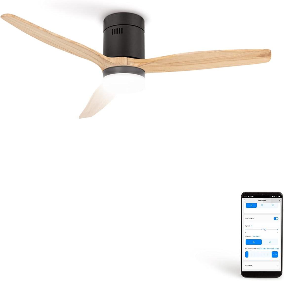 CREATE IKOHS WINDCALM DC STYLANCE - Ventilador de Techo Wifi, con Mando a Distancia, 3 Aspas, Potencia de 40W, Ultrasilencioso, 132 cm de Diametro, 6 Velocidades (con luz - Negro y madera natural)