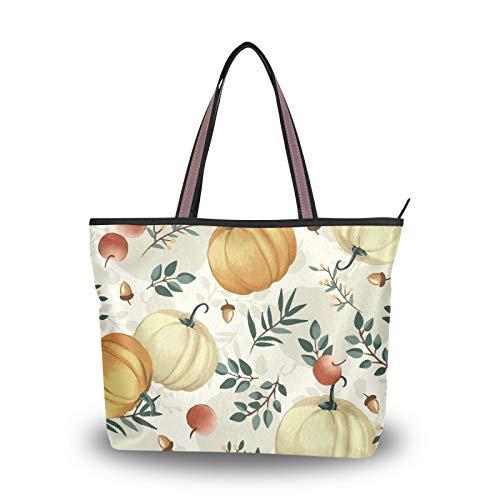Women Large Tote Shoulder Handbag Autumn Pumpkins Leaves Apples Top Handle Shopping Bags for Ladies