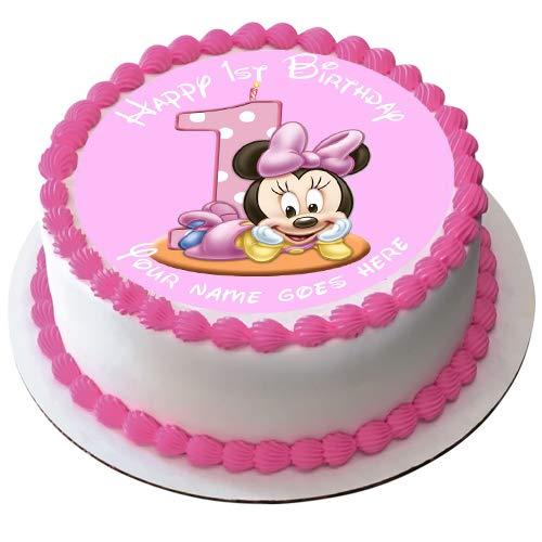 Decoración para tarta comestible de Minnie Mouse para 1er cumpleaños 19 cm, diseño de Minnie Mouse