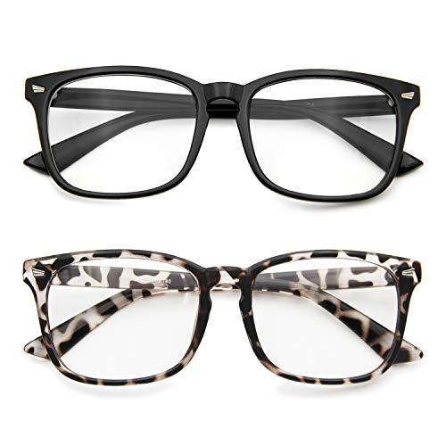 Blue Light Blocking Glasses Anti Eye Strain Minimize Headache UV Blocking Computer Reading Gaming Eyeglasses, Men/Women (2 Pack(Black& Leopard))