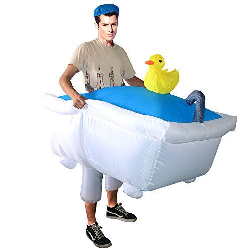 thematys Disfraz bañera Inflable - Divertido Disfraz de Aire para Adultos 165cm-185cm Carnaval, Despedida de Soltero o Halloween