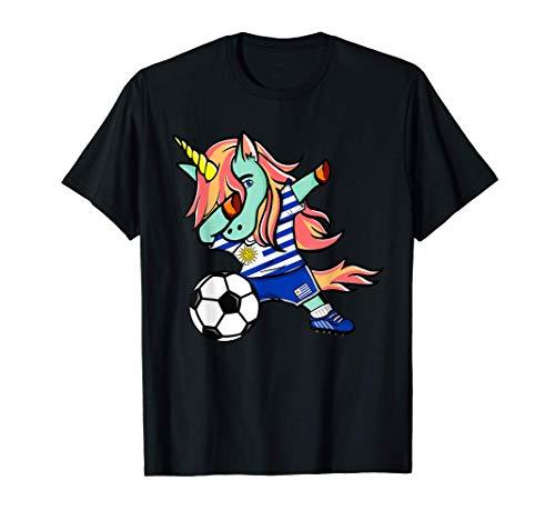 Dabbing Unicornio Fútbol de Uruguay - Bandera de Uruguay Camiseta