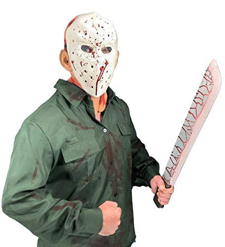 Rubber Johnnies , JASON VI Disfraz de asesino de lago de cristal, mscara de hockey manchada de sangre, machete y capucha sangrienta, accesorio de pelcula, accesorios de Halloween, terror, cosplay