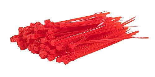 200 Bridas Nylon alta calidad 100 x 2,5mm disponible en todos los colores (Rojo)
