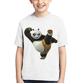 Crewneck T-Shirts Kungfu Panda Boy T-Shirt Short Sleeve Tshirt XL Black