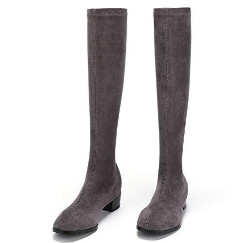 PARAVANO Overknees Stiefel Damen, Kniehohe Stretch Stiefel,Wildleder Damen Schwarz mit Absatz Winterschuhe, Grau Slim,38 (Herstellergröße 240)