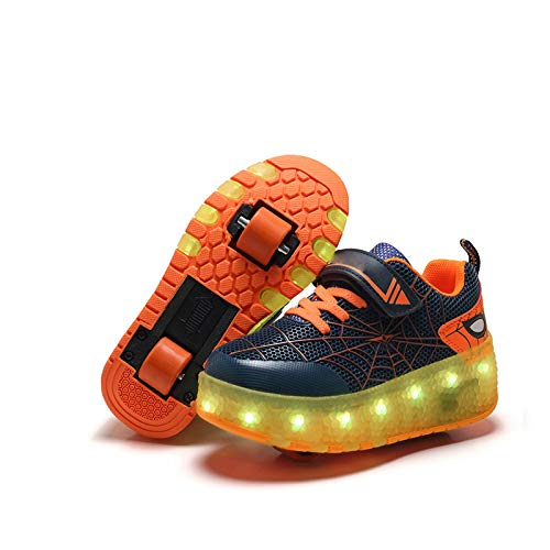 BNC Jungen Mädchen LED Leuchten Rollschuhe, Trainer Technische Skateboardschuhe mit Rädern, Leuchtende Blitzschuhe, Für Erwachsene, Kinder,Orange Double,36