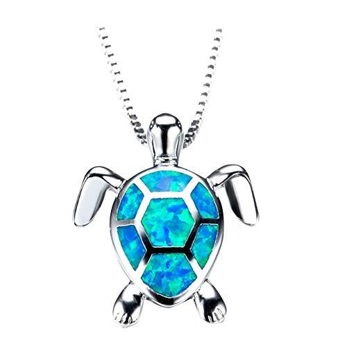 iSpchen Colgante Collar de Tortuga Marina de Plata Esterlina Regalo de Joyería Simple para Mujeres Niñas Azul