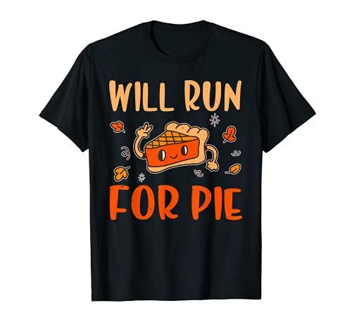 Se ejecutar para pastel calabaza gracioso Accin de Gracias Camiseta