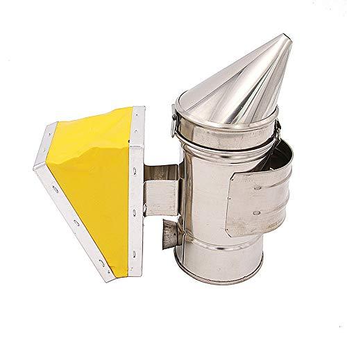 Ahumador de colmena de abejas, ahumador de abejas de acero inoxidable, cámara de calor de fuelle amarillo, equipo de apicultura para apicultor
