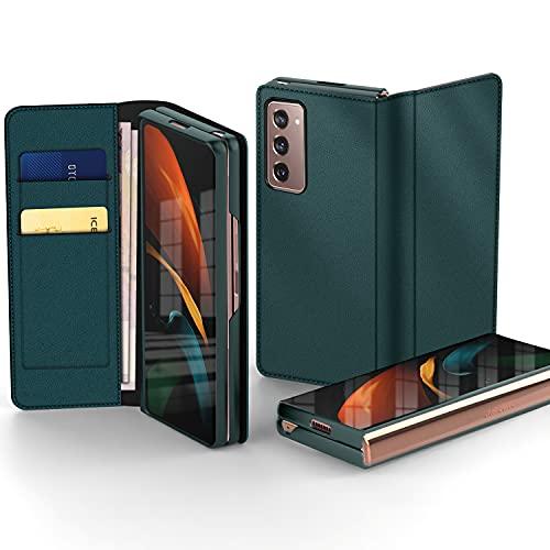 Vizvera Compatible para Samsung Z Fold 2 Funda, 3 in 1 Separar Cuero Genuino Flip Caso Ranura para Tarjetas Cartera con Parachoques Delantero Carcasa Funda para Samsung Galaxy Z Fold 2 5G - Verde
