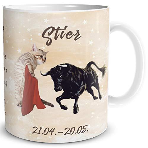 TRIOSK Tasse Katze lustig mit Spruch Sternzeichen Stier Katzenmotiv Horoskop Geschenk für Katzenliebhaber Geburtstag Frauen Freundin