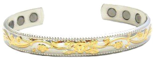 ChiChi Beads Silver and Gold Plated Copper 6 Magnet Magnetic Therapy Ladies Bracelet 2000 + Gauss Each Magnet