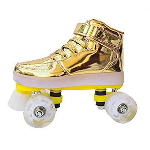 FYHCY Rollschuhe Jungen Quad Skates Woman Led Wiederaufladbare 7 zweireihige leuchtende bunte Adult Skates Unisex Golden,34
