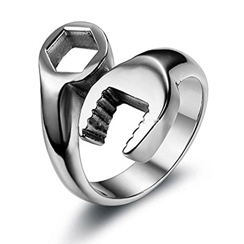 OurJewellery Fashion Men's 316L Stainless Steel Wrench Ring Cool Punk Biker Tools Rings for Men (13)