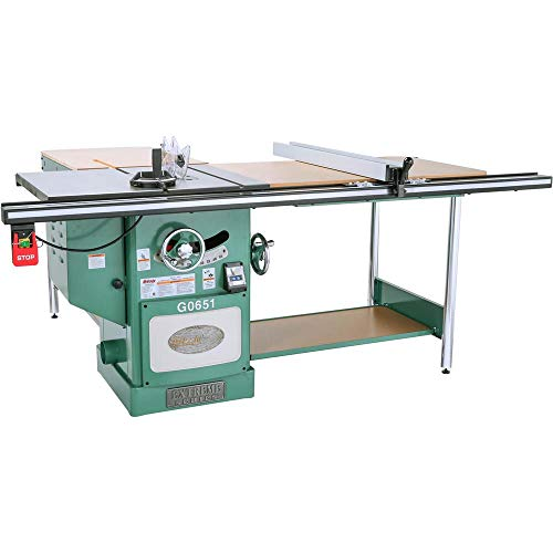 "Grizzly Industrial G0651-10"" 3 HP 220V Heavy Duty Cabinet Table Saw with Riving Knife"