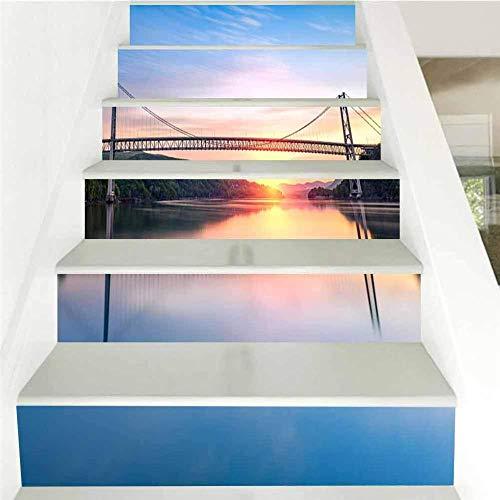 Nomte 3D Landschaft schönen Hudson River Sonnenaufgang 18×100cm×6pcs Treppenaufkleber Wandaufkleber Wohnzimmer Treppe Aufkleber Sofa Wand DIY Vinyl Selbstklebende Entfernbar Hintergrunddekoration