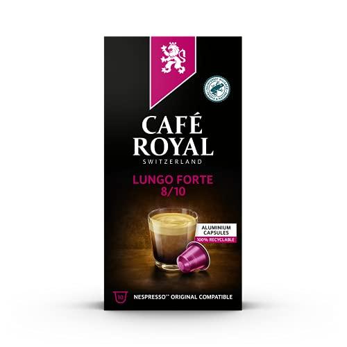 Café Royal Lungo Forte 10 Nespresso®* kompatible Kapseln (aus Aluminium, Intensität 8/10), 1er Pack (1 x 10 Kaffeekapseln)