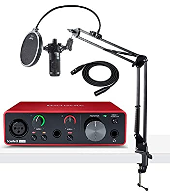Focusrite Scarlett Solo 3rd Gen USB Audio Interface Bundle with AT2035 Microphone, Knox Studio Stand, Pop Filter and XLR Cable (5 Items) from Focusrite