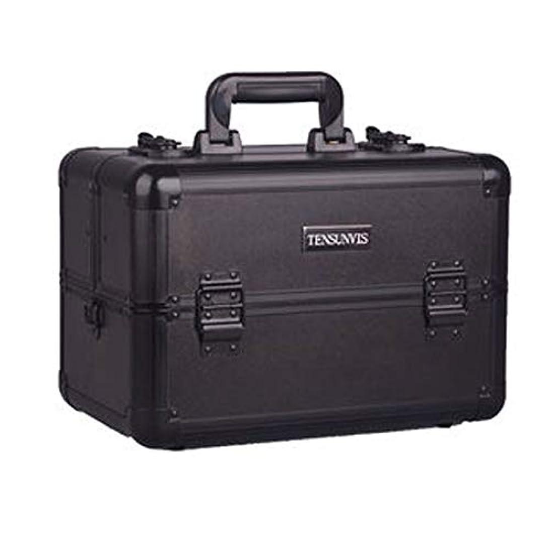 フィールド尋ねる目立つプロ専用 メイクボックス ブラック ヘアメイク プロ 大容量 軽量 高品質 多機能 I-HT-405AB