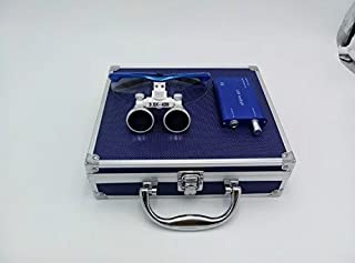 Ocean-Aquarius Blue Surgical Binocular Loupes 3.5x 420mm Working Distance Optical Glass with LED Head Light Lamp+Aluminum Box Blue