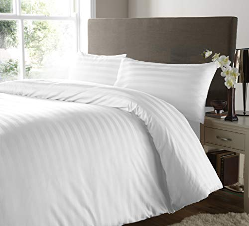 SeventhStitch 400 Thread Count Stripe Duvet Cover with Pillowcase Bedding Set 100% Egyptian Cotton Quilt Covers Double King Bed Size (White, Double)