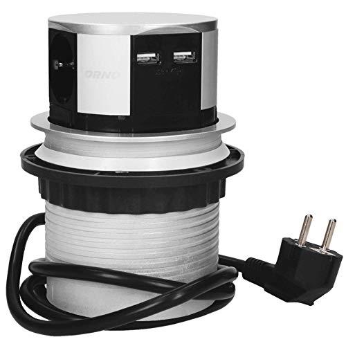 Orno AE-1342(GS) Enchufe Multiple Retractible con 3 Tomas + 2x USB 3650W max Ø 10 cm con Cable Schuko de 1,5 m