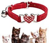 Kingkindsun Collares para Gatos con la Campana y del Cristal del corazón Suministros Linda del Animal doméstico,Rojo