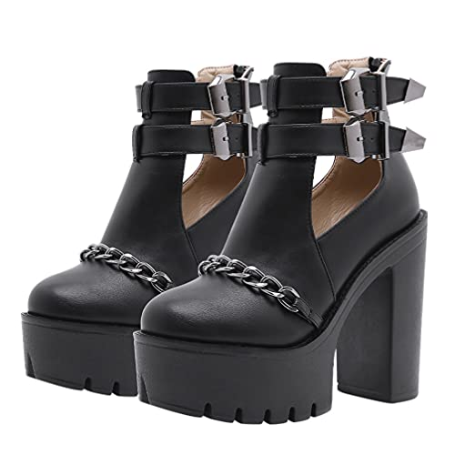 Generic Chunky Heeled Boots Lace up Studded Round Toe Punk Gothic Ankle...