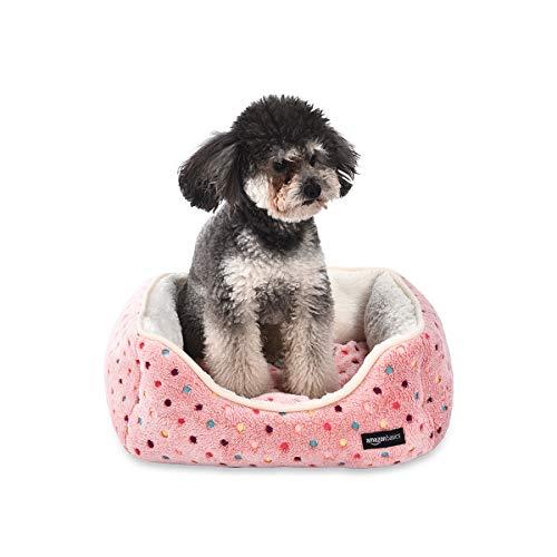 Amazon Basics Cama para mascotas, pequeña, de color rosa con lunares