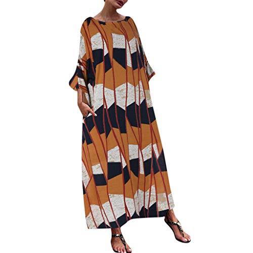 Junjie Damesjurk, dames Casual Plus Size Print Splice Kaftan Fashion Losse Linnen Lange Maxi Jurk