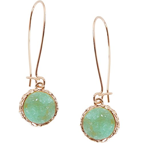 Humble Chic Simulated Druzy Threaders - Boho Glitter Upside-Down Long Hoop Dangle Drop...