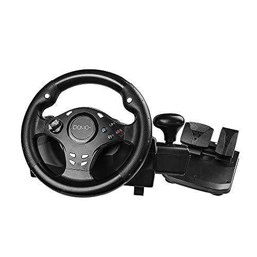 Gaming Lenkrad, 270° Lenkrad PC mit Zweimotoriges Force Feedback, Driving Force Lenkrad mit Pedalen, für PC, XBOX ONE, XBOX 360, PS4, PS3, Android