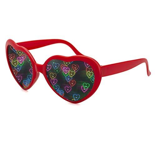 Herz Effekt Beugungs Brille - Siehe Herzen, Musikfestival Party Fektbrille Geeignet für EDM Fasching Karneval slichter Bar Feuerwerk Effekt (Rot)