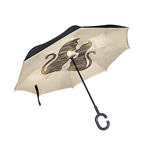 Umkehrbarer Regenschirm Sweet Cat Pärchen umgekehrte Regenschirme Double Layer Winddicht Regenschirm für Auto Regen Outdoor mit C-förmigen Griff