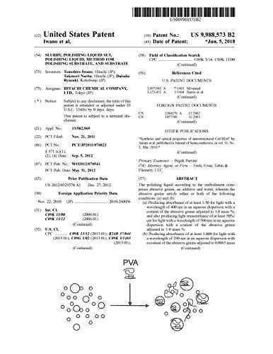Slurry, polishing liquid set, polishing liquid, method for polishing substrate, and substrate: United States Patent 9988573 (English Edition)