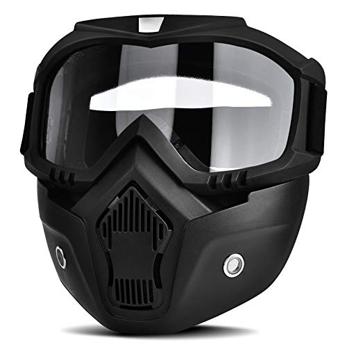BOLLFO Motorcycle Goggles Mask Detachable Face...