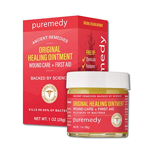 Puremedy Original Healing Ointment, Homeopathic All Natural First Aid Salve Relieves Symptoms of Wounds, Burns, Cuts, Bug Bites, Bed Sores, Itching, Swelling, Safe for Adults, Kids, 1 oz (Pack of 1)