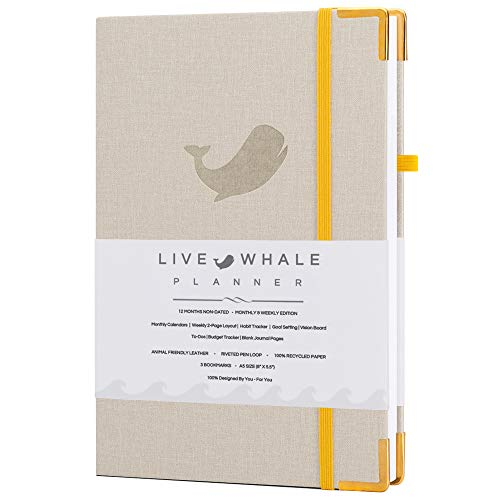 Live Whale, Weekly and Monthly Personal Organizer. The Look And Feel Of Linen - The Durability Of Engineered Material. Track Goals and Achieve Well Being. (Linen)