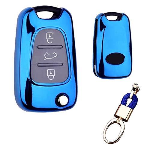 Royalfox Schutzhülle für Funkschlüssel mit 3 Tasten, TPU, für Kia K5 K2 Sportage Rondo Soul Rio Optima Magenta Lotze Hyundai Elantra Verna i20 i30 i35 iX20 iX35 Schlüsselanhänger (blau)